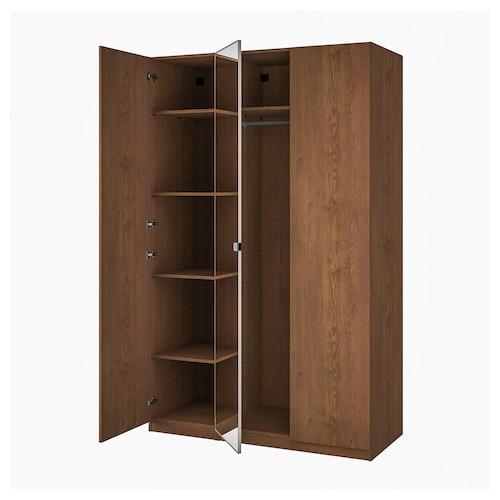 帕克思 / 弗桑/维克多 衣柜组合, 褐色白蜡木纹/镜玻璃, 150x60x236 厘米