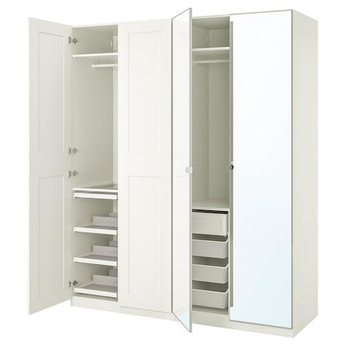 帕克思 / 格利莫/维克多 衣柜组合, 白色/镜玻璃, 200x60x236 厘米