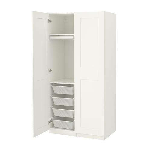 帕克思 / 格利莫 衣柜组合, 白色/白色, 100x60x201 厘米