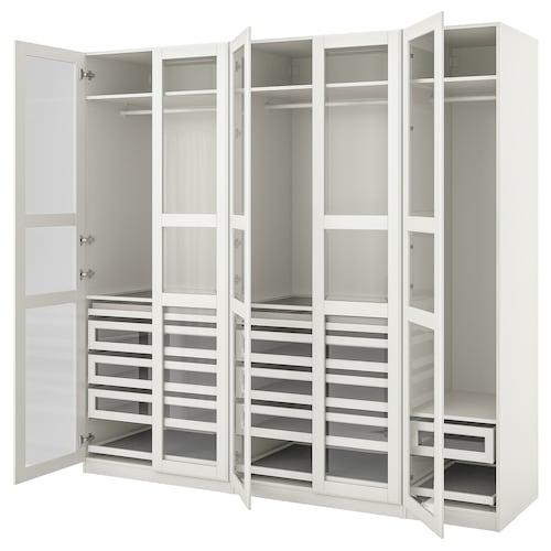 帕克思 / 提赛尔 衣柜组合, 白色/白色 玻璃, 250x60x236 厘米