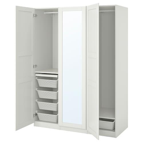 帕克思 / 提赛尔 衣柜组合, 白色/镜玻璃, 150x60x201 厘米
