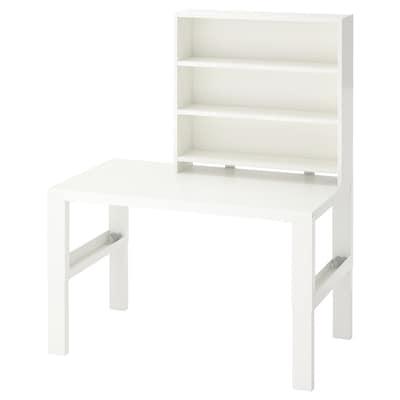 PÅHL 佩尔 桌含搁架件, 白色, 96x58 厘米
