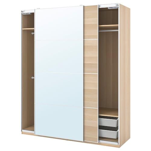 帕克思 / 马汉姆/奥利 衣柜组合 仿白色橡木纹/镜玻璃 200.0 厘米 66.0 厘米 236.4 厘米