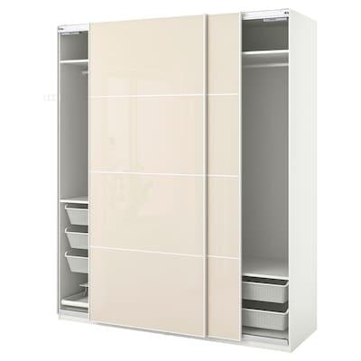 PAX 帕克思 / HOKKSUND 霍克松 衣柜组合, 白色/高光 淡米色, 200x66x236 厘米