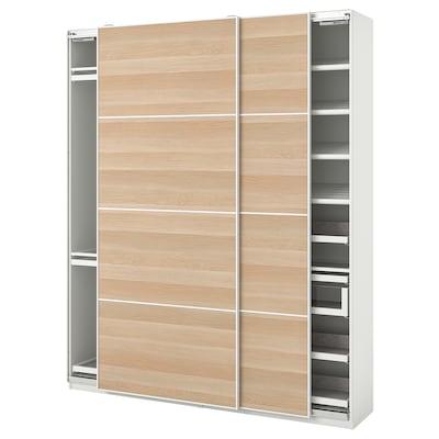 PAX 帕克思 / MEHAMN 马汉姆 衣柜组合, 白色/仿白色橡木纹, 200x44x236 厘米