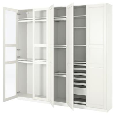 PAX 帕克思 / TYSSEDAL 提赛尔 衣柜组合, 白色/玻璃, 250x38x236 厘米