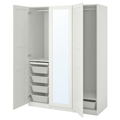 PAX 帕克思 / TYSSEDAL 提赛尔 衣柜组合, 白色/镜玻璃, 150x60x201 厘米