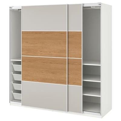 PAX 帕克思 衣柜, 马汉姆 仿橡木/淡灰色, 200x66x201 厘米