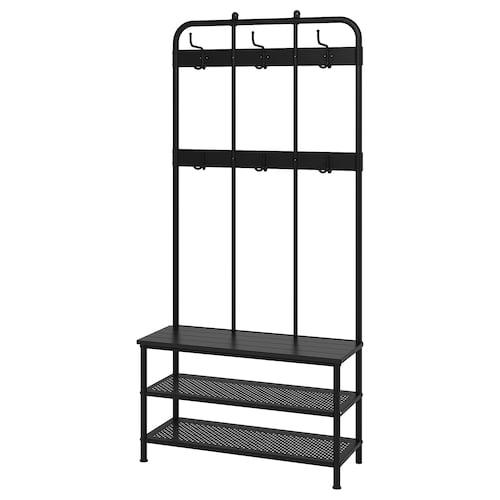 佩尼格 储鞋长凳附衣帽架, 黑色, 193 厘米