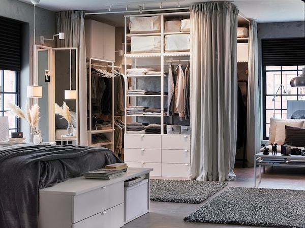 PLATSA 普拉萨 衣柜/6抽屉, 白色/福纳 白色, 140x42x241 厘米