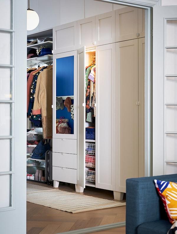 PLATSA 普拉萨 衣柜/7门/3屉, 白色/桑尼达尔 里达布, 240x57x221 厘米