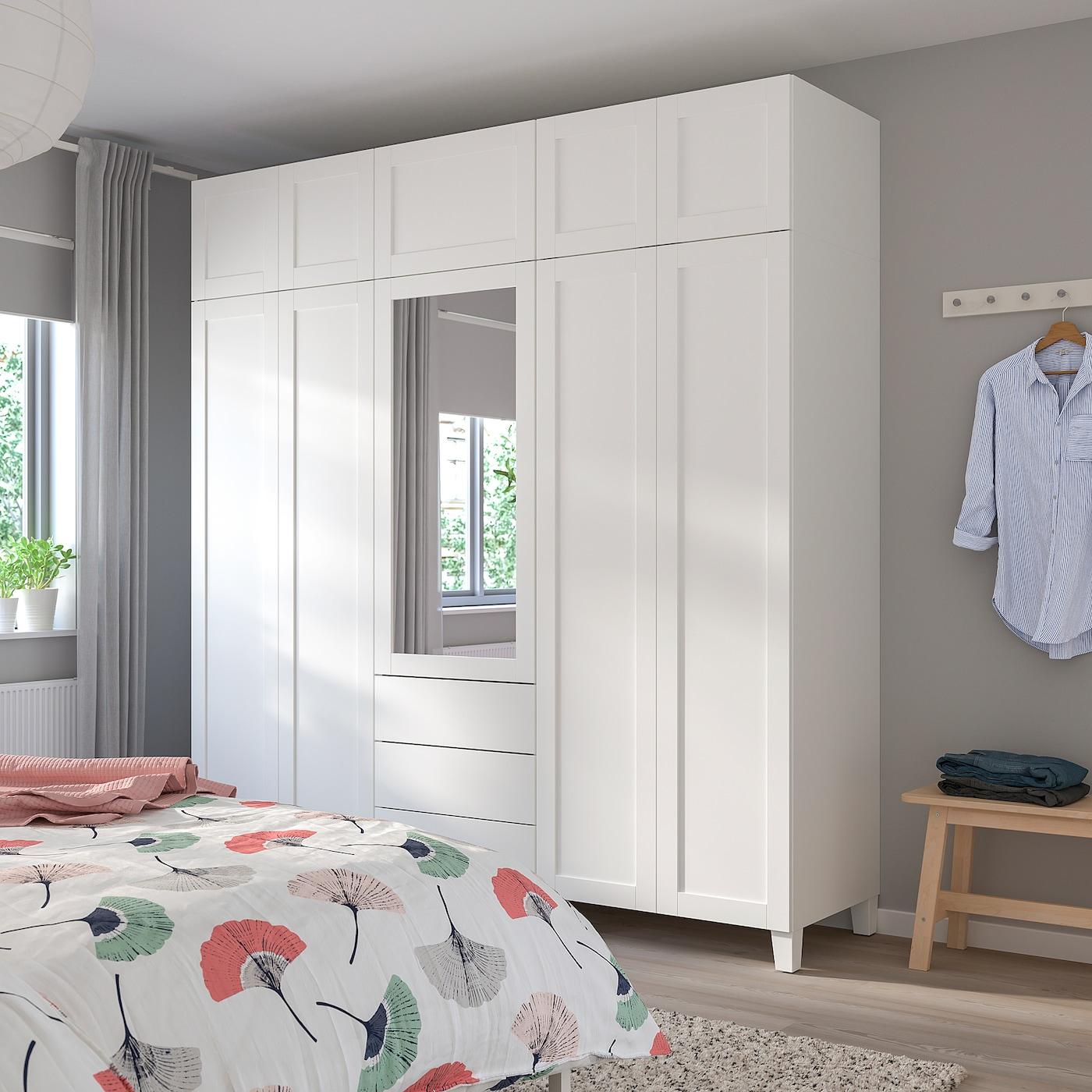 PLATSA 普拉萨 衣柜, 白色/桑尼达尔 里达布, 220x57x231 厘米