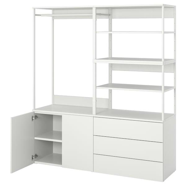 PLATSA 普拉萨 衣柜带2个门+3个抽屉, 白色/福纳 白色, 160x42x181 厘米