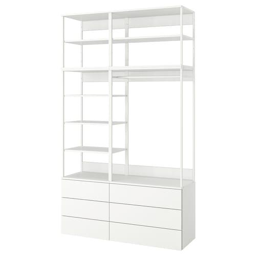 普拉萨 衣柜/6抽屉 白色/福纳 白色 140 厘米 42 厘米 241 厘米