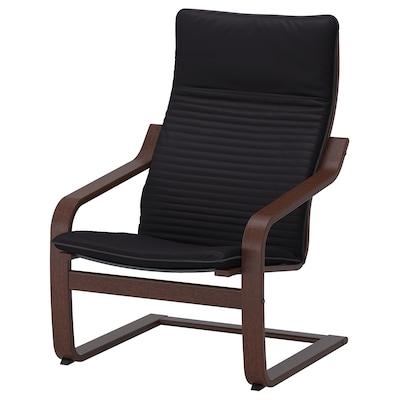 POÄNG 波昂 单人沙发/扶手椅, 褐色/基尼萨 黑色
