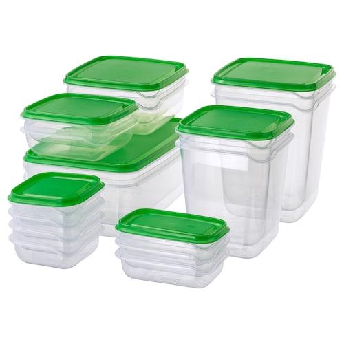 普塔 食品盒,17件套 透明/绿色