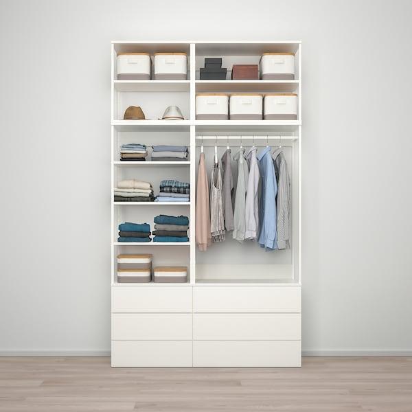 普拉萨 衣柜/6抽屉, 白色/福纳 白色, 140x42x241 厘米