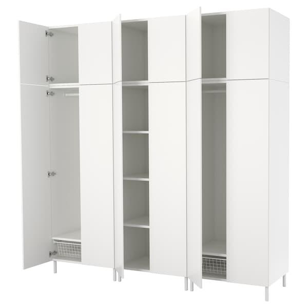 普拉萨 衣柜, 白色/福纳 白色, 240x57x251 厘米