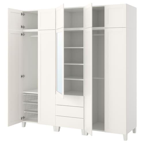 普拉萨 衣柜, 白色/桑尼达尔 里达布, 220x57x231 厘米
