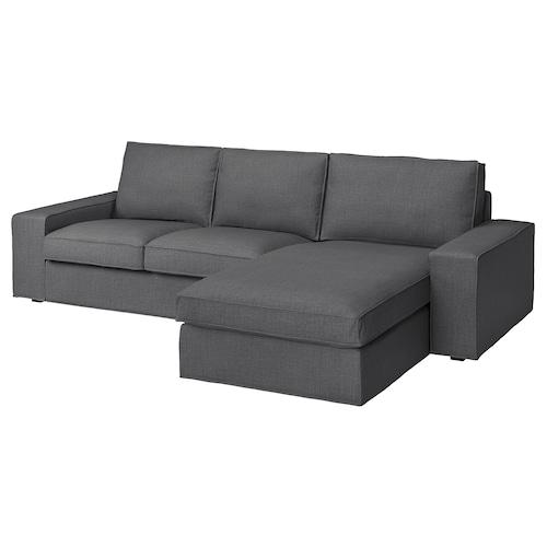 奇维 三人沙发, 带贵妃椅/斯科特伯 深灰色