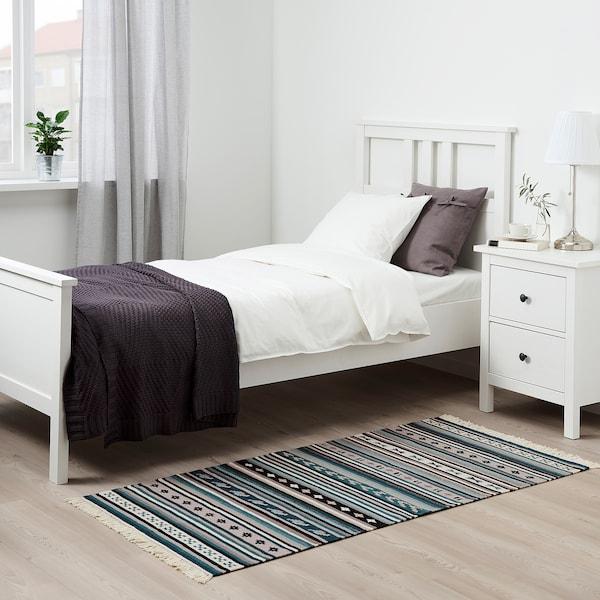 卡德鲁 平织地毯, 手工制作/蓝色, 75x150 厘米
