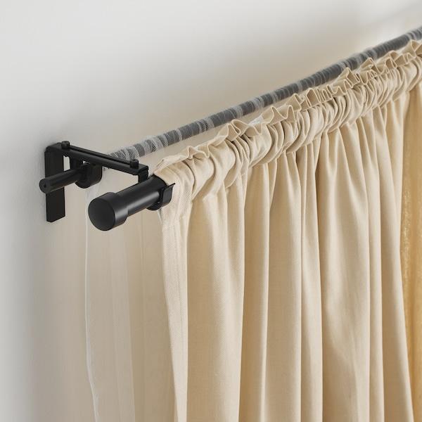 瑞卡 / 胡加 双窗帘杆组合 黑色 210 厘米 385 厘米