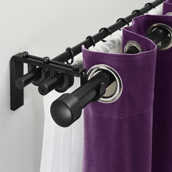 瑞卡 / 胡加 窗帘杆3件组合 黑色 210 厘米 385 厘米
