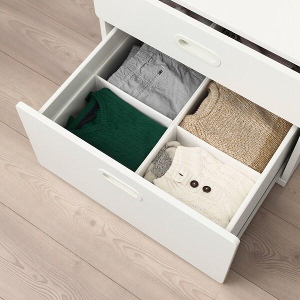 RASSLA 拉斯拉 带格储物盒, 白色, 25x41x16 厘米