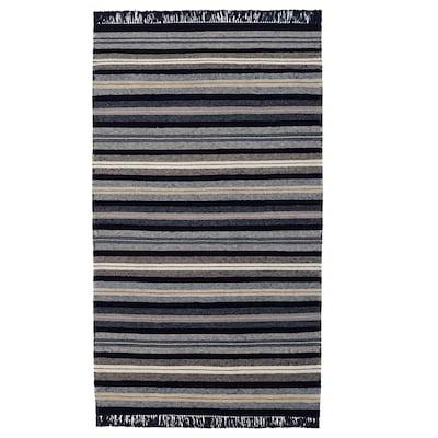 RÅVAROR 罗瓦露 平织地毯, 深蓝色, 90x155 厘米