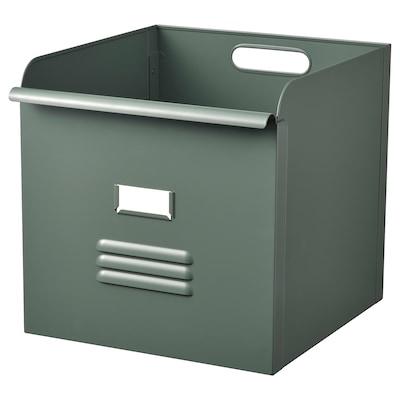 REJSA 雷萨 盒子, 灰绿色/金属, 32x35x32 厘米