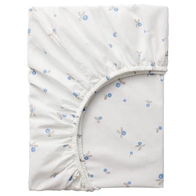 RÖDHAKE 吕哈克 婴儿床床笠, 白色/蓝莓图案, 60x120 厘米