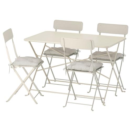 萨托蒙 桌子+4把折叠椅,户外 米黄色/库达那 灰色