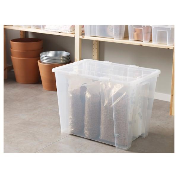 SAMLA 萨姆拉 附盖储物盒, 透明, 57x39x42 厘米/65 公升