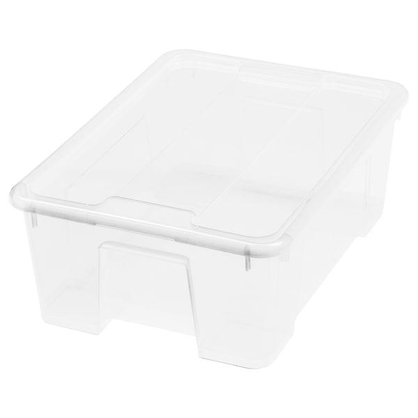 SAMLA 萨姆拉 附盖储物盒, 透明, 39x28x14 厘米/11 公升