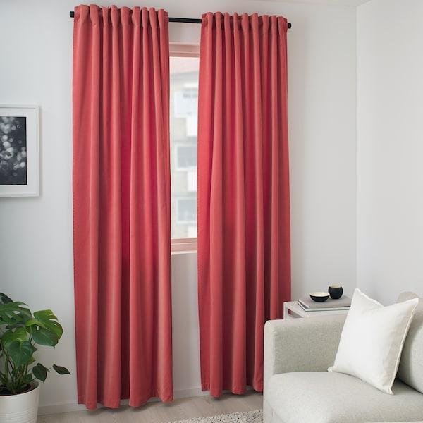 SANELA 桑尼拉 窗帘,一对, 浅红褐色, 140x300 厘米