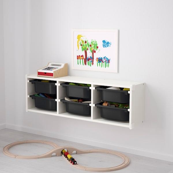 舒法特 壁式储物装置, 白色/黑色, 99x21x30 厘米