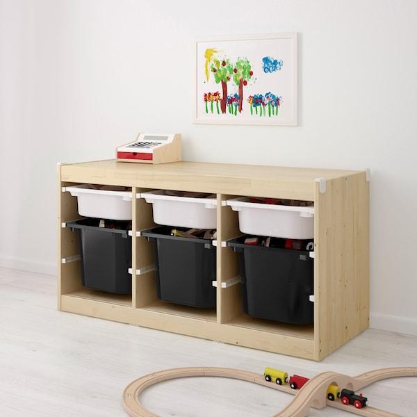 舒法特 储物组合带盒, 白漆松木/白色 黑色, 99x44x52 厘米