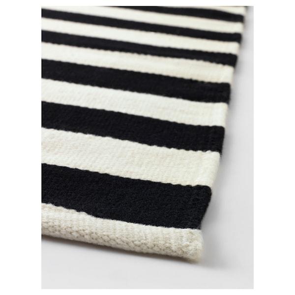 斯德哥尔摩 平织地毯, 手工制作/条形图案 黑色/米白色, 170x240 厘米