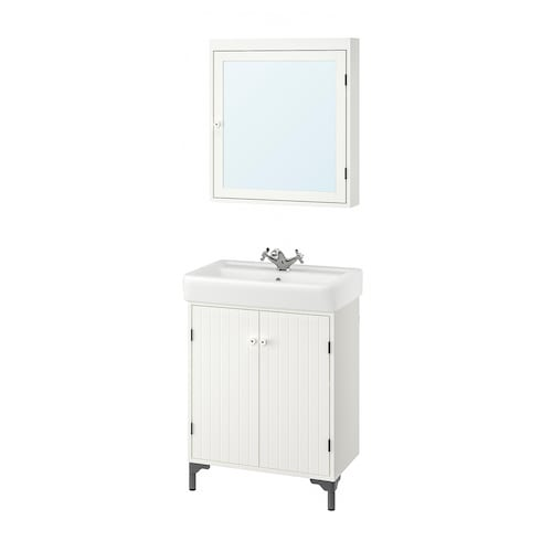 西文 / 汉维肯 浴室家具,5件套 白色/RUNSKÄR 兰斯卡 水龙头 63 厘米