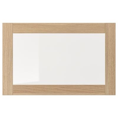 SINDVIK 欣维 玻璃柜门, 仿白色橡木纹/透明玻璃, 60x38 厘米