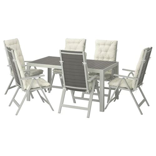 索兰德 桌+六躺椅,户外 深灰色/库达那 米黄色 156 厘米 90 厘米 73 厘米
