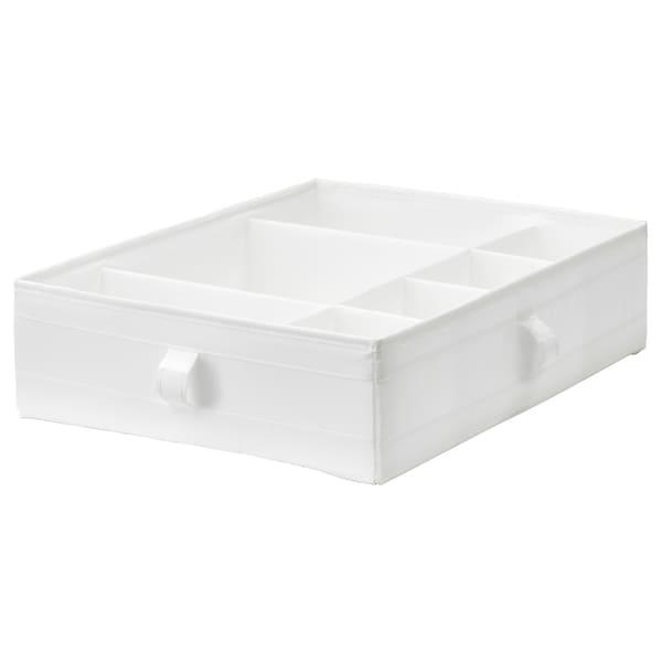 SKUBB 思库布 储物盒带格, 白色, 44x34x11 厘米