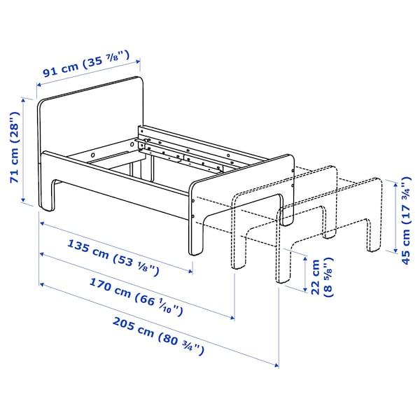 斯莱克 加长床框架带床板 白色/桦木 22 厘米 135 厘米 205 厘米 91 厘米 45 厘米 71 厘米 100 公斤 200 厘米 80 厘米