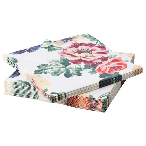 SMAKSINNE 斯马克辛恩 餐巾纸, 多色/花, 33x33 厘米