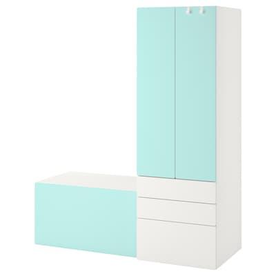 SMÅSTAD 斯玛斯塔 / PLATSA 普拉萨 储物组合, 白色 薄荷绿/带凳子, 150x55x180 厘米