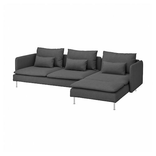 索德汉 四人沙发 带贵妃椅/塔米拉 中灰色