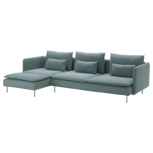索德汉 4人沙发带贵妃椅 芬斯塔 天蓝色