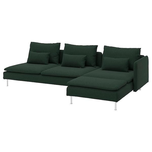 SÖDERHAMN 索德汉 四人沙发, 带贵妃椅 开放式/塔米拉 深绿色