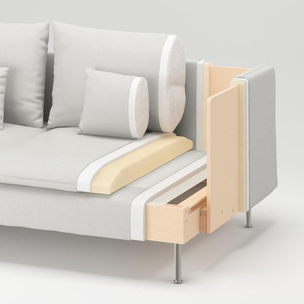 SÖDERHAMN 索德汉 四人沙发, 带贵妃椅 开放式/威索尔 灰色