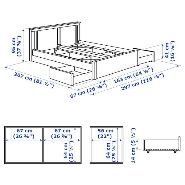 松耶桑德 床架带4储物盒 白色/朗塞特 14 厘米 207 厘米 163 厘米 56 厘米 64 厘米 41 厘米 95 厘米 200 厘米 150 厘米